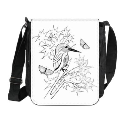 Сумка на плечо (мини-планшет) маленькая птичка в японском стиле