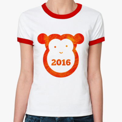Женская футболка Ringer-T Год Огненной Обезьяны 2016