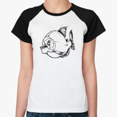 Женская футболка реглан пиранья