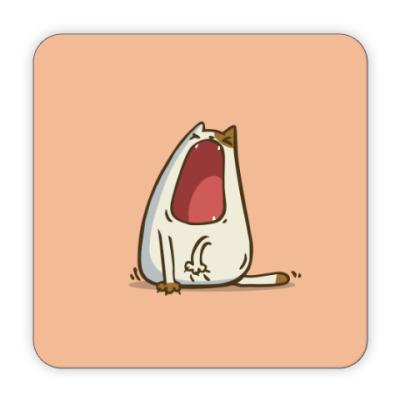 Костер (подставка под кружку) Зевокот — Пятничный Котик №28