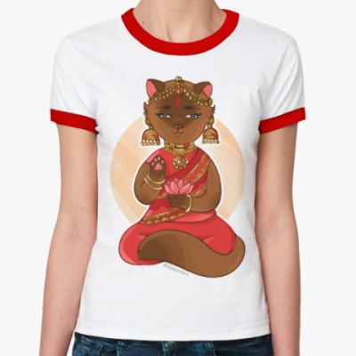 Женская футболка Ringer-T Кошка из Индии