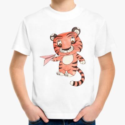 Детская футболка Тигренок с бумажным самолетиком