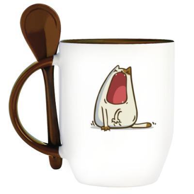 Кружка с ложкой Зевокот — Пятничный Котик №28