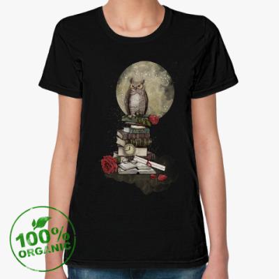 Женская футболка из органик-хлопка Мудрая сова и книги