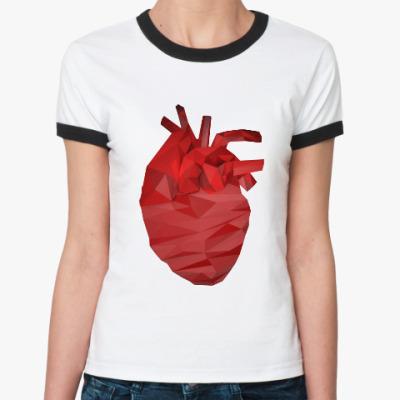 Женская футболка Ringer-T Сердце 3D
