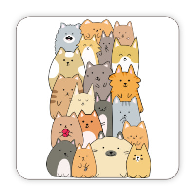 Костер (подставка под кружку) Смешные коты (funny cats)
