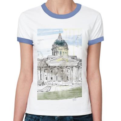 Женская футболка Ringer-T Казанский собор. Питер.