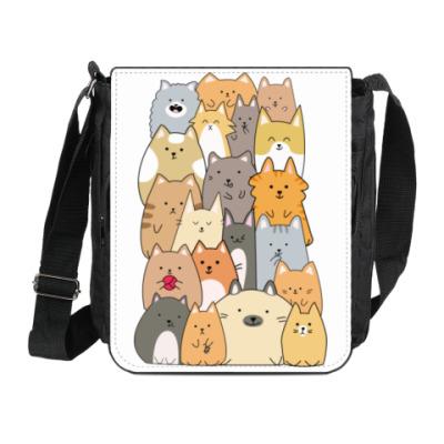 Сумка на плечо (мини-планшет) Смешные коты (funny cats)