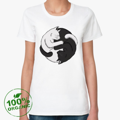 Женская футболка из органик-хлопка Черный и белый кот инь-ян