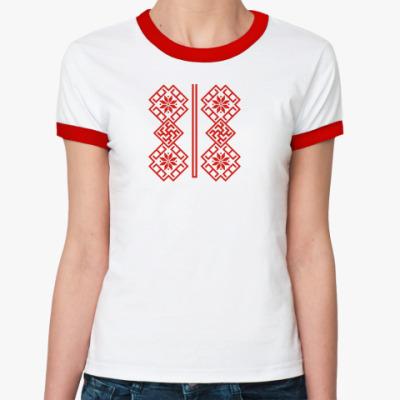 Женская футболка Ringer-T Славянский орнамент