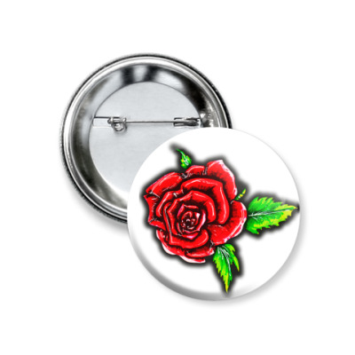 Значок 37мм Летняя роза