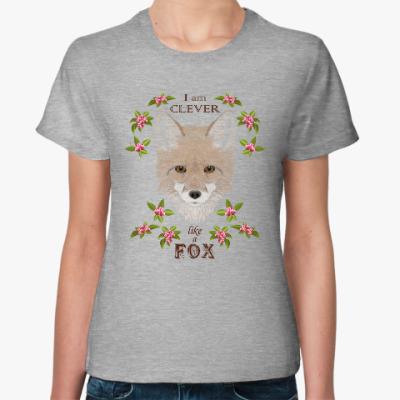 Женская футболка Серый лис в цветах