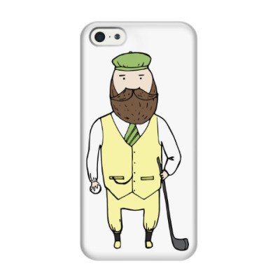 Чехол для iPhone 5/5s Джентльмен с клюшкой для гольфа