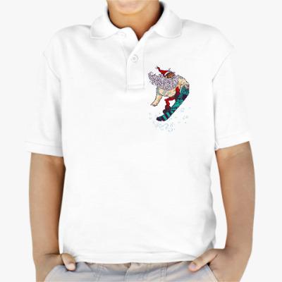 Детская рубашка поло Санта Клаус сноубордист