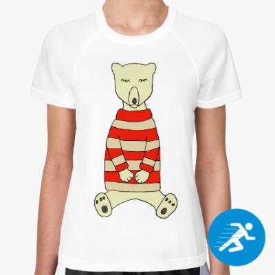 Женская спортивная футболка Спящий медвежонок