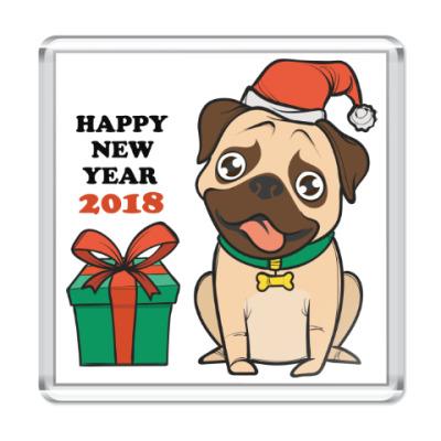 Магнит Новогодняя собака 2018