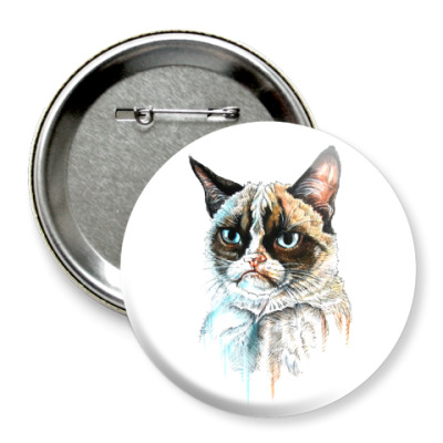 Значок 75мм Грустный кот