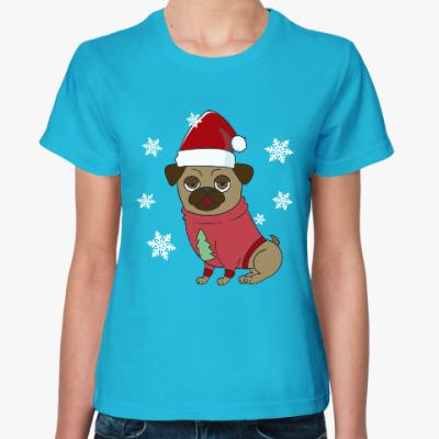 Женская футболка Новогодняя собака мопс