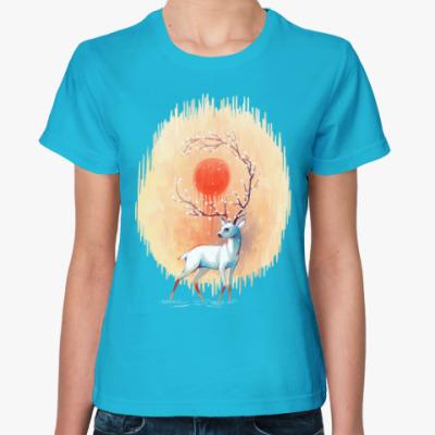 Женская футболка Дух весны белый олень