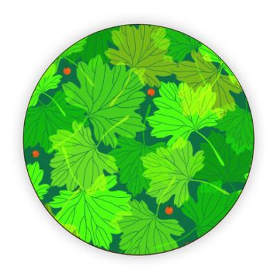 Костер (подставка под кружку) Листья смородины