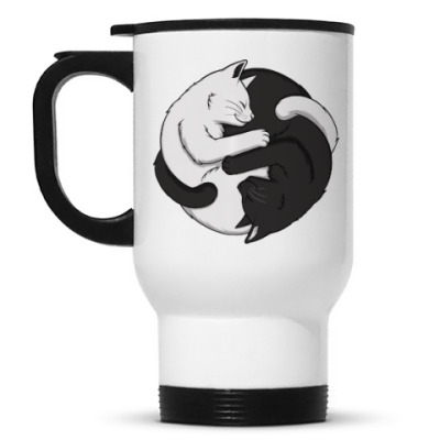 Кружка-термос Черный и белый кот инь-ян