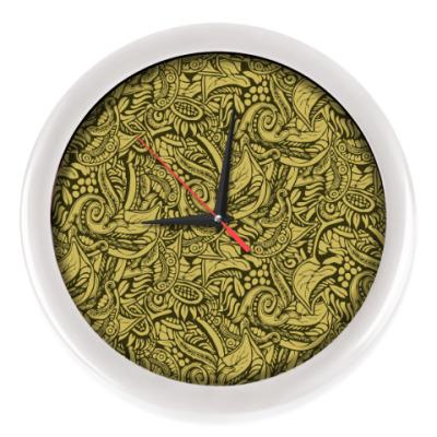 Настенные часы растительный тропический цветочный фон