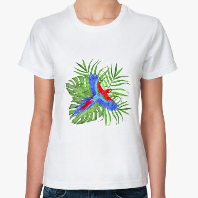 Классическая футболка тропический букет с попугаем ара