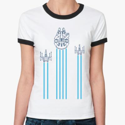 Женская футболка Ringer-T звёздные войны (Star wars)