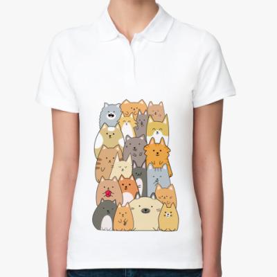 Женская рубашка поло Смешные коты (funny cats)