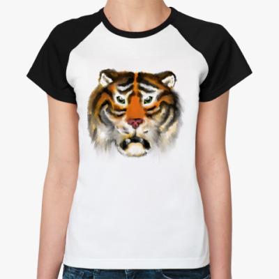 Женская футболка реглан Огненный тигр
