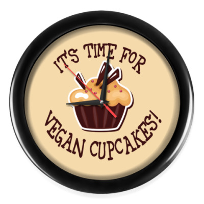 Настенные часы It's time for vegan cupcakes!