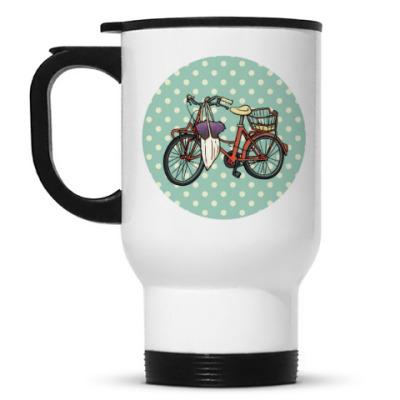 Кружка-термос Винтажный велосипед с цветами