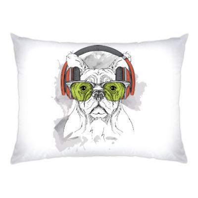 Подушка Собака в зеленых очках