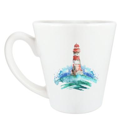 Чашка Латте Маяк и волны