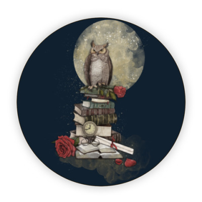 Костер (подставка под кружку) Мудрая сова и книги