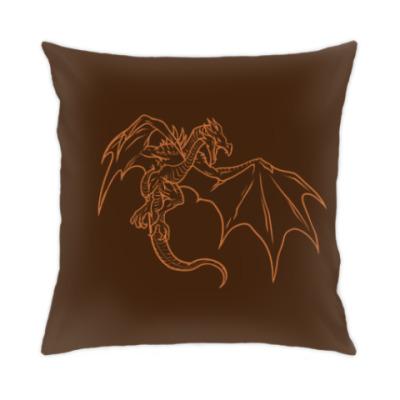 Подушка Skyrim - дракон, коричневый