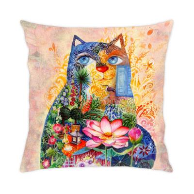 Подушка кот с лотосом