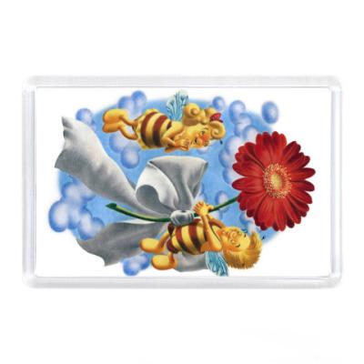 Магнит Пчёлки и цветок
