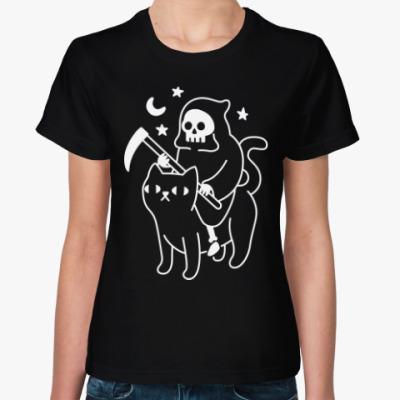 Женская футболка Смерть на котике