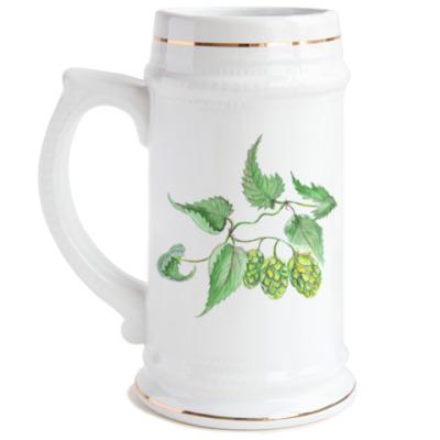 Пивная кружка Хмель Акварель
