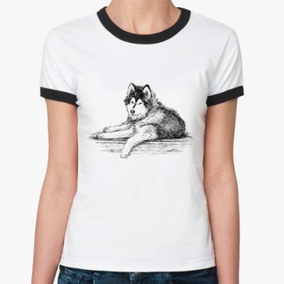 Женская футболка Ringer-T С собакой породы сибирский хаски