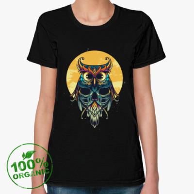 Женская футболка из органик-хлопка Сова на фоне Луны