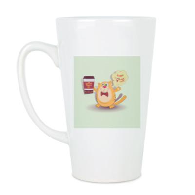 Чашка Латте кот, держащий кофе