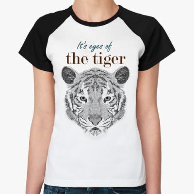 Женская футболка реглан Глаза тигра