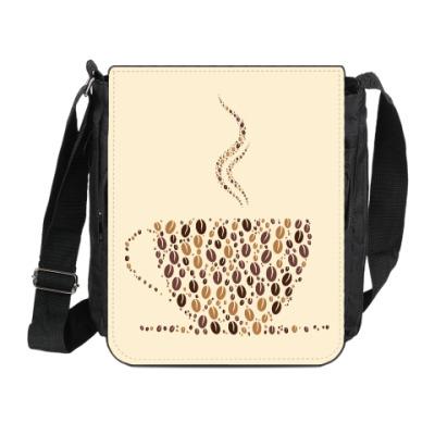 Сумка на плечо (мини-планшет) Кофе из кофейных зерен