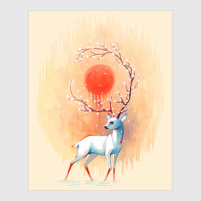 Постер Дух весны белый олень