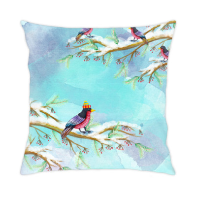 Подушка Зимние птицы
