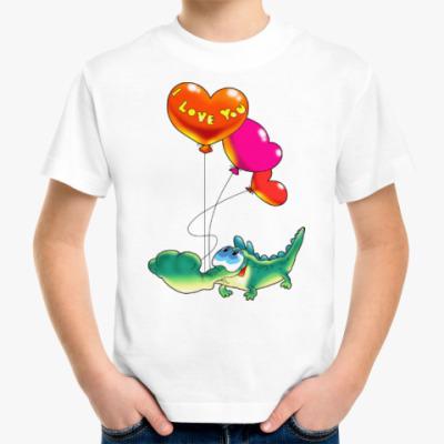 Детская футболка КРОКОДЖИЛ С СЕРДЕЧКАМИ