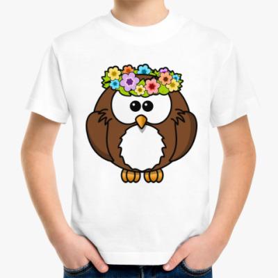 Детская футболка Сова с цветами