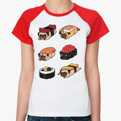 Женская футболка реглан Суши мопс